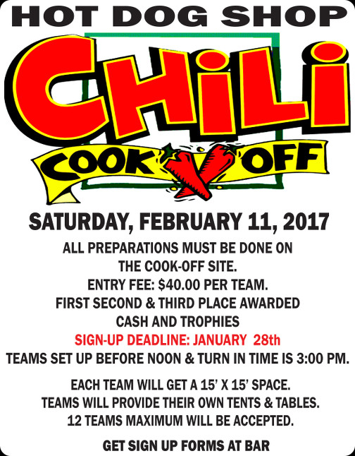 2017 Chili Cook-off with cash & trophy awards, sign up today!