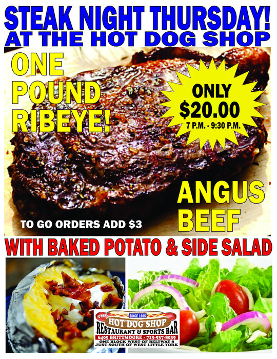 Steak Night Thursdays! Get an Angus Beef Ribeye Steak with Baked Potato & Salad, only $14!